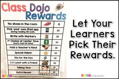 Let your learners pick their rewards! Class Dojo Rewards, Classroom Rewards, Classroom Management, Pbis School, Dojo Points, Kindergarten, Redeem Points, Letter To Parents, 100 Days Of School