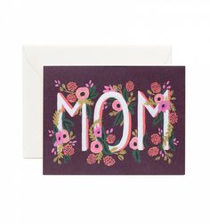 Rosy Blooms 'Mom' a single folded card & matching envelope