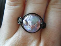 Pearl Ring  Purple and Black  Gothic  Made to Order by JbellsGems, $11.00