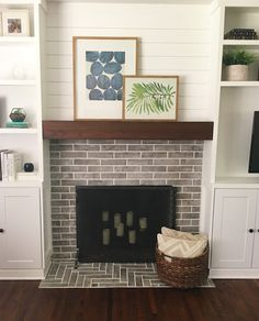 fireplace with built ins and floating mantle