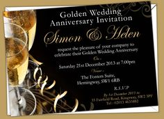 Golden Wedding Anniversary Invitations. Prices start from £6.50. Free envelopes and delivery inland uk only.