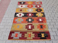 Vintage Kilim Rug: Handwoven Nomadic Turkish Rug 91 by MissDecor Turkish Kilim Rugs, Tribal Rug, Vintage Antiques, Paint Colors, Bohemian Rug, Hand Weaving, Colours, Quilts, Carpets