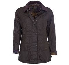 The Barbour Beadnell Waxed Jacket is an ideal everyday jacket, made with Barbour's signature waxed cotton. Featuring: multiple pockets, Barbour tartan lining, and shaped front and back panels for a relaxed feminine fit, perfect for layering over knitwear during the cooler months.