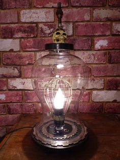SKULL LAMP - Skull Glass Lamp - Custom Skull Edison Table Lamp by JusFunkinAround on Etsy Harley Davidson, Barware, Lamps, Table Lamp, Skull, Etsy, Lightbulbs, Lamp Table, Bar Accessories