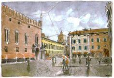 Acquarello. Ferrara, Piazza trento e Trieste.