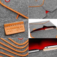 13Macbook Sleeve Handmade Wool Felt Bag for Macbook Pro by TopHome