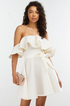 Front View Ruffle Mini Dress in White