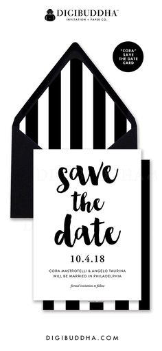 Save the Date Cards | Modern elegant black and white save the dates with classic black and white vertical stripes. Matching striped envelope liners, color envelope options, and full wedding invitations suite also available. Celebrate life, love, and babies with Digibuddha Invitation + Paper Co.