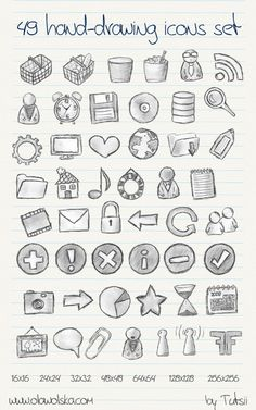 49 hand-drawing icons set by tutsii Bullet Journal Astuces, Bullet Journal Agenda, Learn To Draw, How To Draw Hands, Organization Bullet Journal, Bujo Doodles, Planners, Free Hand Drawing, Keeping A Journal