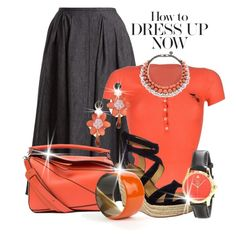 """""""Dreamsicles: Pops of Orange"""" by shamrockclover ❤ liked on Polyvore featuring Rochas, Sonia by Sonia Rykiel, Loewe, Splendid, Lizzie Fortunato, Gucci, Ellen Conde, orangeoutfit and popsoforange"""