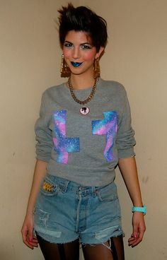 Galaxy Good & Evil Crosses Sweatshirt. $30.00, via Etsy.com/shop/basementgold