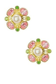 9.4mm White Freshwater Button Pearl & Multicolor CZ Vintage-Style Earrings