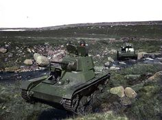Soviet T26 tanks, Murmansk area, color photo, pin by Paolo Marzioli