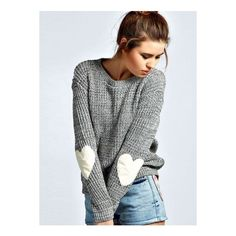 Heathered Heart Patch Pullover Knit Sweater ($25) ❤ liked on Polyvore featuring tops, sweaters, grey, gray knit sweater, pullover sweaters, long sleeve sweater, heather grey sweater and knit pullover sweater