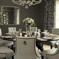 Gray Dining Room, Transitional, dining room, Vallone Design