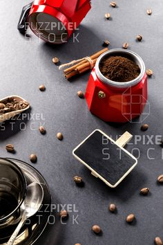 Royalty Free (RF) Photos / Vectors / Ready Made Logos / by BuzzPixelStock Coffee beans fried near coffee machine and the writing board on black background table Coffee Machine, Coffee Maker, Brown Cafe, Writing Boards, Photography For Sale, Coffee Beans, Coffee Drinks, Fries, Tasty