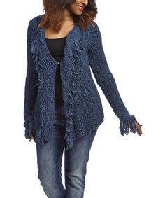 Love this Blue Fringe Cardigan by Nicole Sabbattini on #zulily! #zulilyfinds