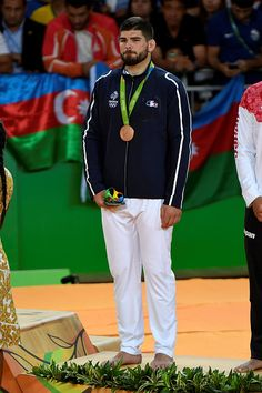 #RIO2016 Under 100kg judo bronze medallist Cyrille Maret of France during the medal ceremony at the 2016 Rio Olympics on August 11 2016 held at the Carioca...
