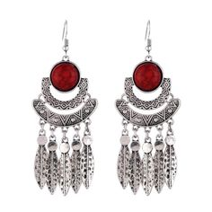 Boho Silver Feather & Stone Earrings