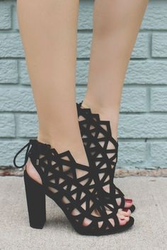 Faux Suede Open Toe Caged Heels Shawna-S – UOIOnline.com: Women's Clothing Boutique