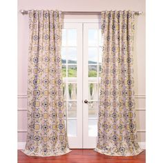 "Exclusive Fabrics Soliel Yellow/ Grey Damask Blackout Curtain Panel Pair (50"" x 84""), Gold, Size 50 x 84"
