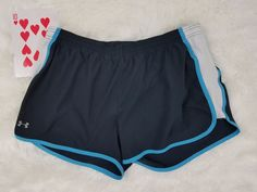 Under Armour Mens Athletic Running Shorts Swim Trunk Blue White Large Lined EUC #Underarmour #Athletic