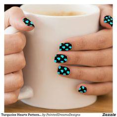 Turquoise Hearts Pattern on Black Minx® Nail Art