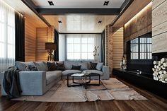 Wooden cottage interior on Behance