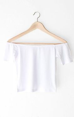 "- Description Details: Off the shoulder crop top in white. Form fitting, tend to run on the smaller side & are more fitted. Measurements: (Size Guide) S: 27"" bust, 13"" length M: 29"" bust, 13.5"" length"