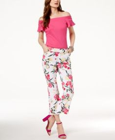 I.N.C. Off-The-Shoulder Top & Floral-Print Pants, Created for Macy's