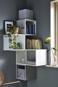 15 corner pieces of furniture perfect for optimizing every corner of a room! Ikea Living Room, Ikea Bedroom, Living Rooms, Ikea Eket, Corner Shelves, Corner Tv, Decor Room, Shelving, Sweet Home
