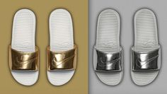 Put ametallictwist on your socks n slides with the Nike Benassi 'Liquid metal' pack. Question is, are you gold or silver?