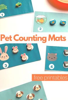 Pet themed counting activity for preschool math centers. Use mini erasers for this great pet counting activity for prek and preschool. Circle Time Activities, Farm Activities, Counting Activities, Sight Word Activities, The Very Hungry Caterpillar Activities, Activity Centers, Math Centers, Preschool Math, Kindergarten