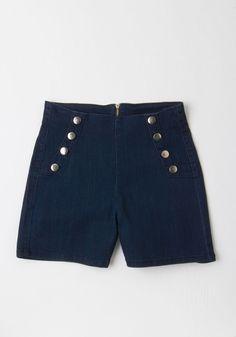 New Arrivals - Sailorette the Seas Shorts in Dark Wash