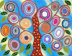 Kerri Ambrosino Art PRINT Mexican Folk Art French Blue ree of Life Flowers Summer on Etsy, $20.00