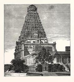'Brihad eswara Mahadeva' Temple, built by Chola Raja Rajeswara at Thanjavur, The , Hindus, 'Vimana' (or temple tower) is 216 ft high Drawn with pen and pencil By the Rev. Watercolor Architecture, Temple Architecture, Indian Architecture, Temple India, Hindu Temple, Cool Art Drawings, Art Sketches, Hindu Art, Rare Pictures