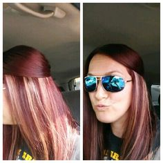 Red with blonde peekaboo highlights:) love my new hair