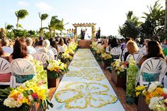 Disney Aulani Wedding, look at how beautiful the aisle runner is decorated! Wedding Aisles, Wedding Ceremony Ideas, Wedding Runners, Wedding Pergola, Beach Ceremony, Wedding Ceremonies, Henna, Decoration Design, Hawaii Wedding