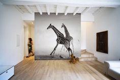 Giraffes in Sepia Wall Mural