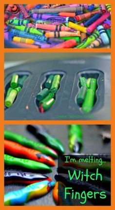 Melt crayons to make witch fingers for Halloween fun! Creative Connections for Kids #Halloween