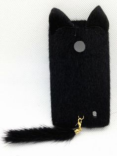 Amazon.com: Black 3D Charming Smile Cat Classic Cute Lovely Special Party Plush Leopard Tail Ear Cat Case Cover For Nokia Lumia 521 (T-Mobil...