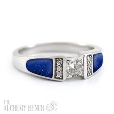 Unique Princess Cut Engagement Ring with Diamonds and Lapis Lazuli | The Alchemy Bench #BridalTransformed