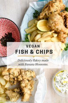 """Fish"" made with Banana Blossoms - The Organic Gypsy Plant Based Recipes, Raw Food Recipes, Fish Recipes, Vegan Food, Vegan Fish And Chips, Deep Fried Bananas, Vegan Mushroom Burger, Red Onion Recipes, Banana Blossom"
