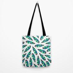 Green Tribal Tote Bag #bag #totebag @society6 #tribal #feather #pattern #green #society6 #tribal #featherpattern #blue #green #decor #art #artist #artwork #design #patterndesign