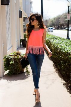 Street fashion cute neon fringe top