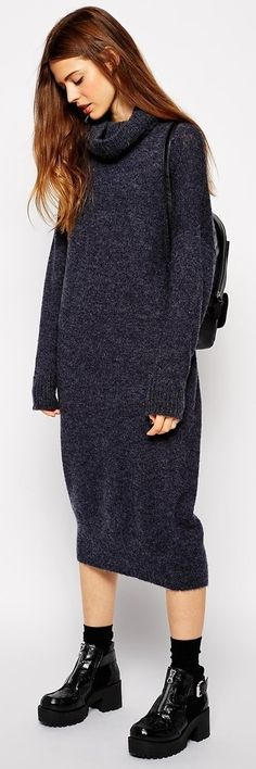 blue Asos oversized midi sweater dress with roll neck