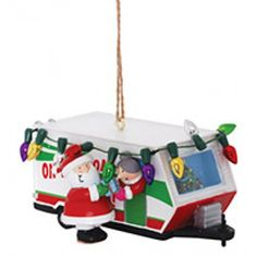 Resin Ornament RV WITH SANTA AND MRS