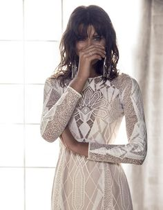 long sleeve geometric weddng dress by Grace Loves Lace bridal 2016 - BLANC