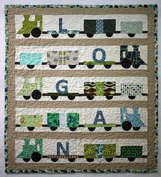 Train Quilt for John (Xmas) - these would count as choo choo's, right? Just don't want to give him ideas though with a BABY quilt!