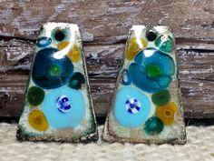 Baby Blue Teal and Gold Fiesta Enamel Earring by BlueHareartwear
